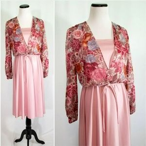70s Dusty Rose Floral Blouson Midi A Line Dress